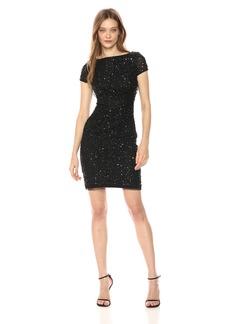 Adrianna Papell Women's Short Sleeve Beaded Cocktail Dress