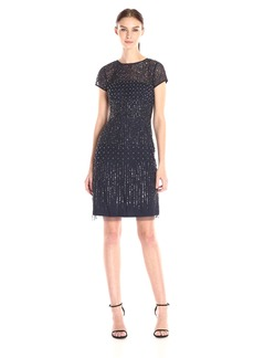 Adrianna Papell Women's Short Sleeve Beaded Cocktail Dress