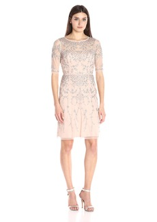 Adrianna Papell Women's Short Sleeve Beaded Cocktail Dress with Illusion Neckline