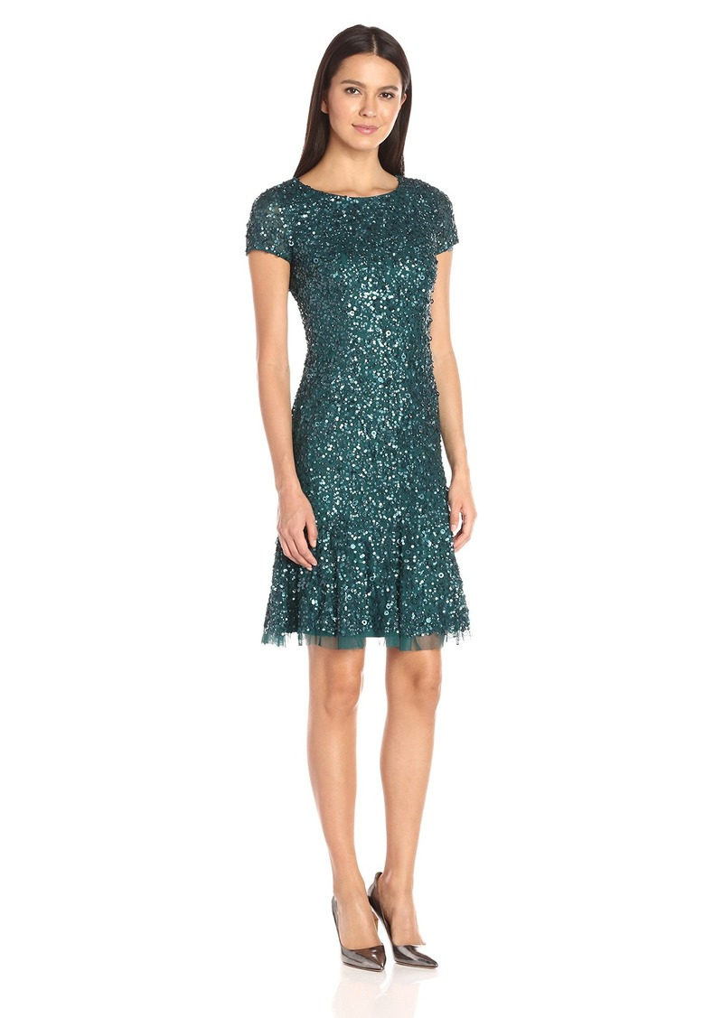 687ba7a98c6 Adrianna Papell Split Neck Fit And Flare Dress W Pleated Skirt ...