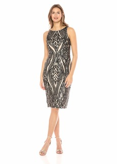 Adrianna Papell Women's Short Sleeve Convertible Color Sequin Cocktail Dress
