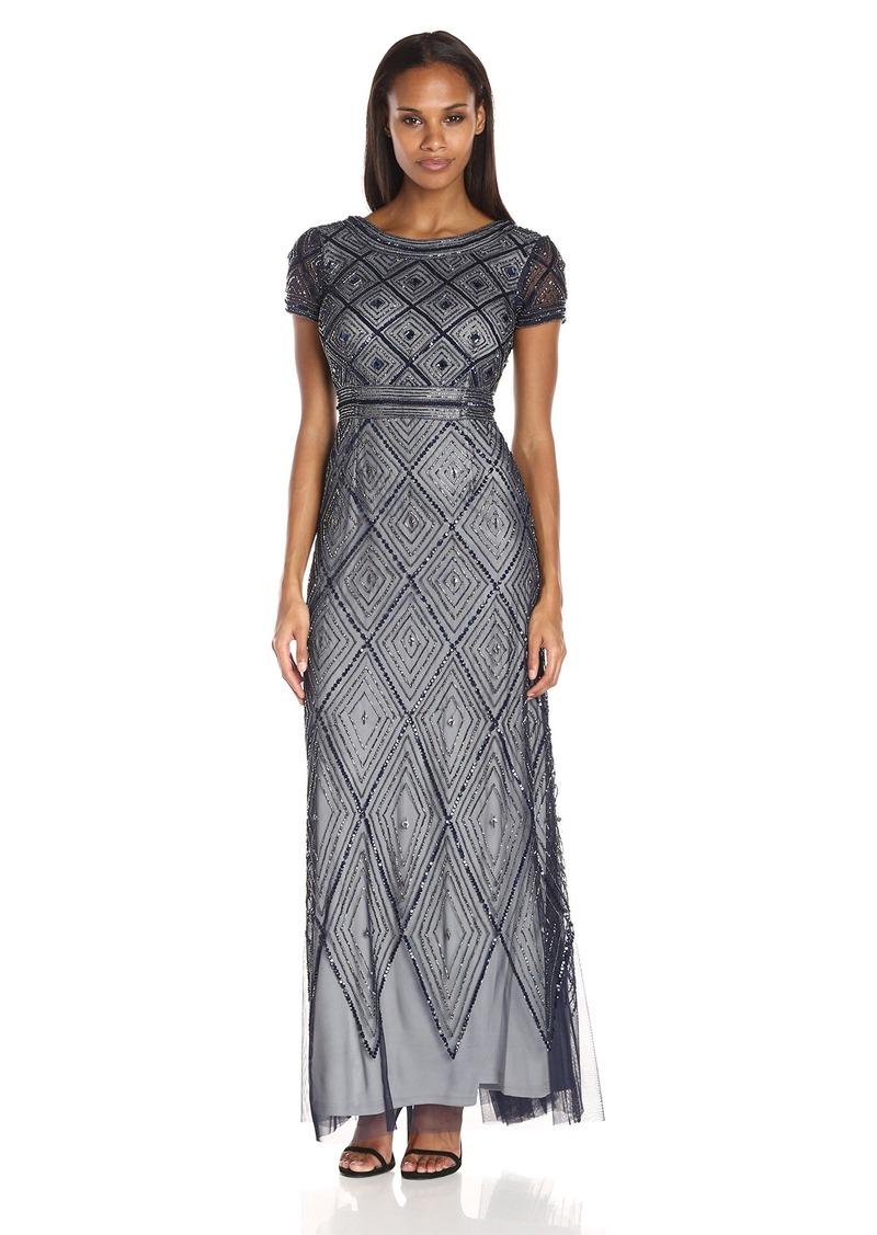Adrianna Papell Adrianna Papell Women\'s Short Sleeve Diamond Pattern ...