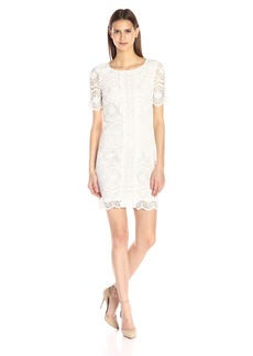 Adrianna Papell Women's Short Sleeve Directional Lace Shift