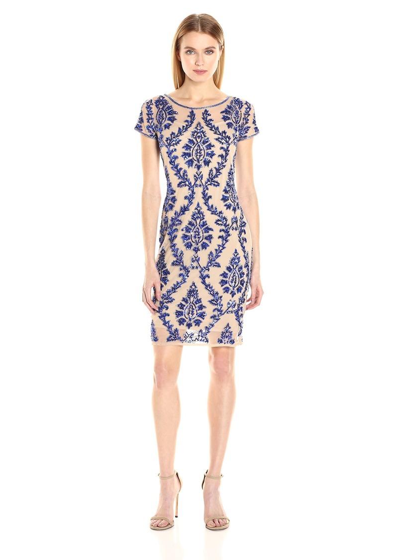 Adrianna Papell Women's Short Sleeve Embelished Sheath Cocktail Dress