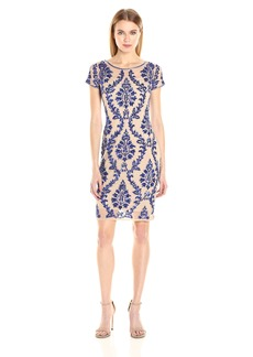 Adrianna Papell Women's Short Sleeve Embelished Sheath Cocktail Dress