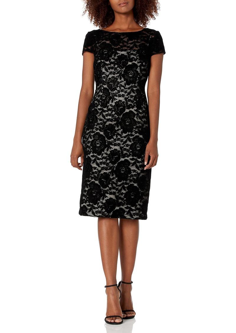 Adrianna Papell Women's Short Sleeve Flocked Velvet Lace Dress