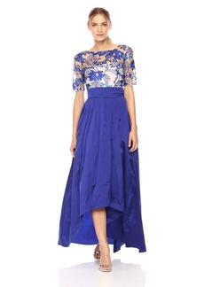 Adrianna Papell Women's Short Sleeve Floral Lace Hi Lo Gown with Taffeta Skirt