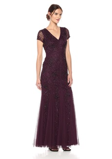 Adrianna Papell Women's Short Sleeve Fully Beade Long Gown with Grid Pattern deep Amethyst