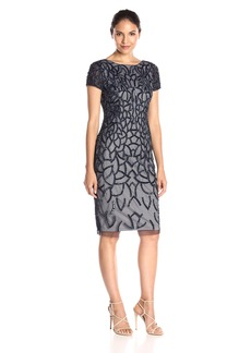 Adrianna Papell Women's Short Sleeve Fully Beaded Cocktail Dress