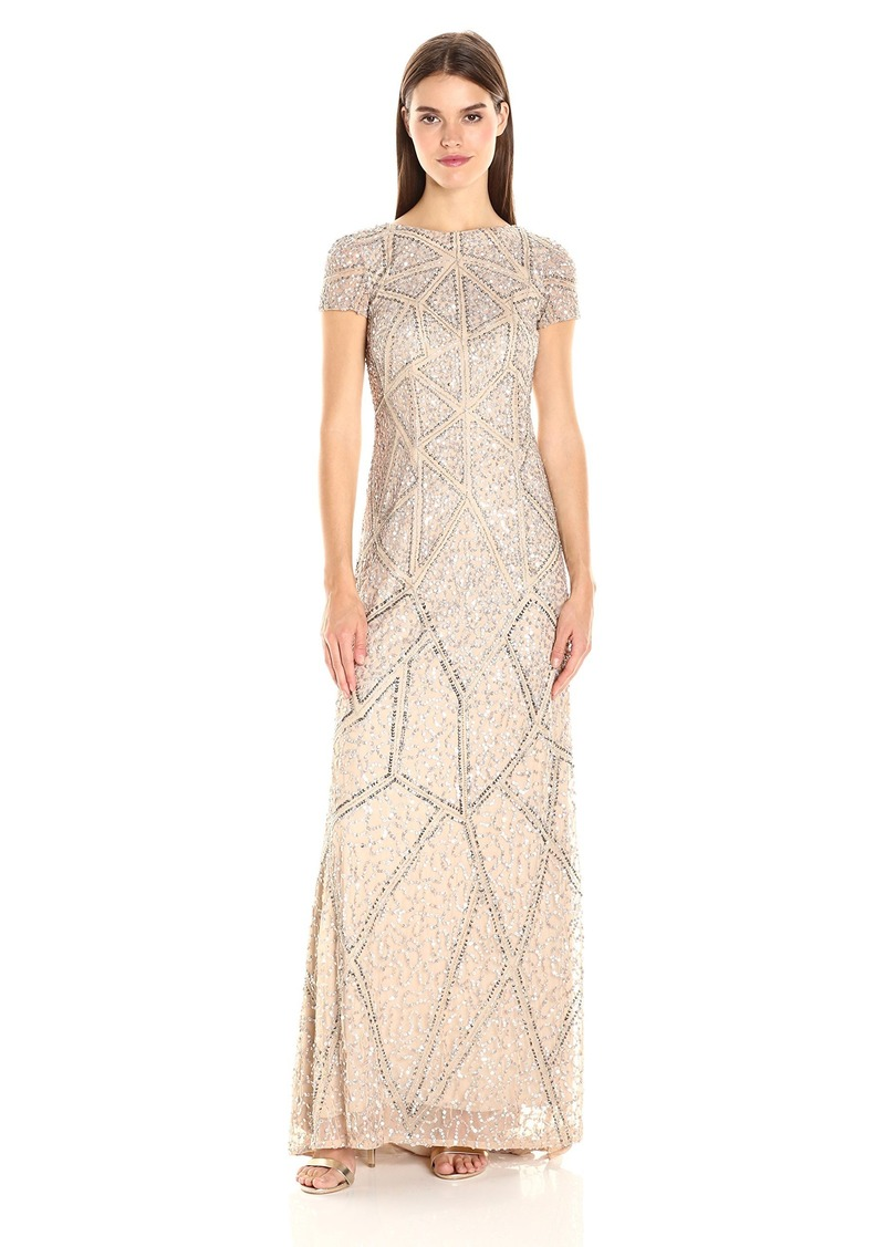 Adrianna Papell Womens Scallop Sleeve Beaded Organza Long Gown Dress