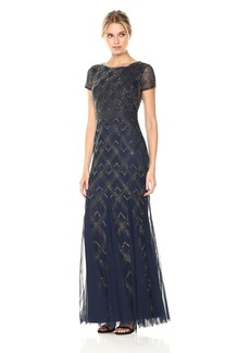 Adrianna Papell Women's Short Sleeve Fully Beaded Long Gown