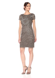Adrianna Papell Women's Short Sleeve Fully Beaded T-Shirt Cocktail Dress