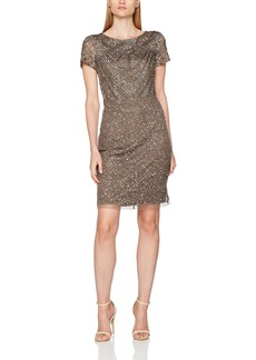 Adrianna Papell Women's Short Sleeve Fully Beaded T Shirt Cocktail Dress