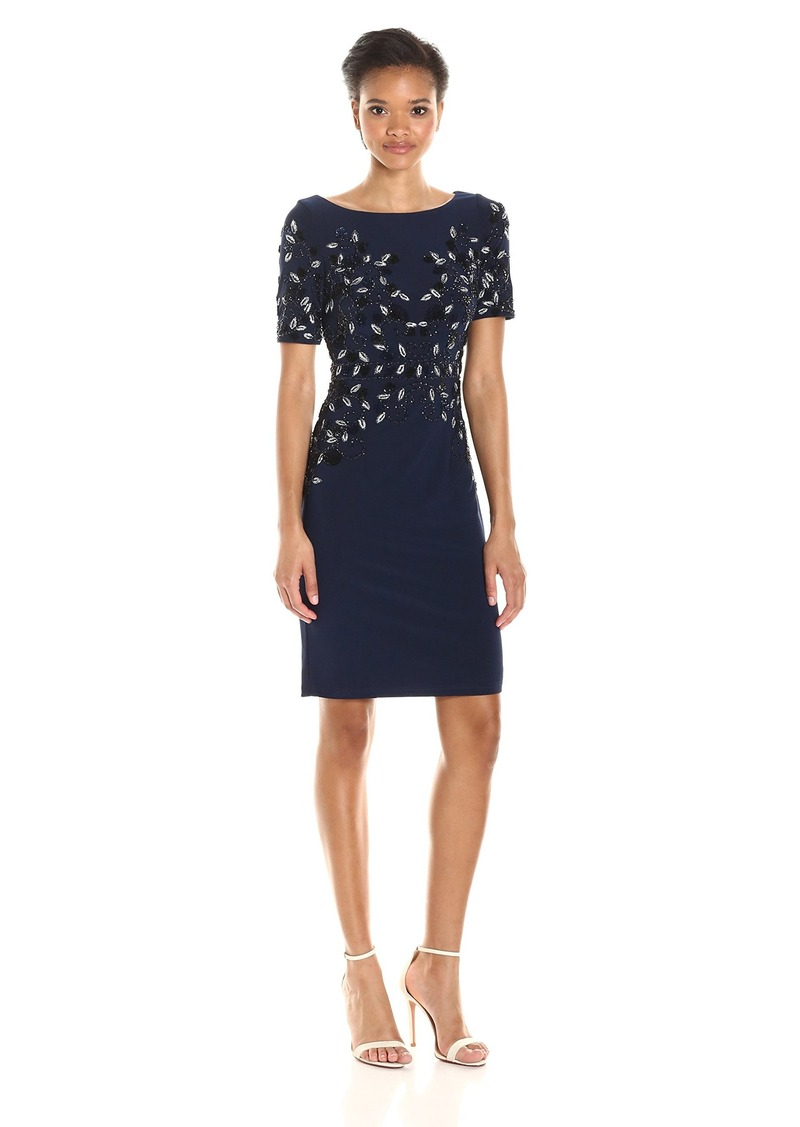 Adrianna Papell Women's Short Sleeve Jersey Beaded Cocktail Dress