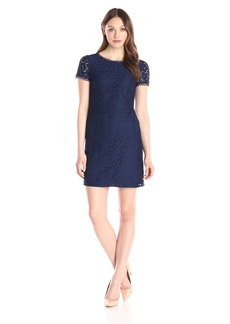 Adrianna Papell Women's Short Sleeve Lace Shift Dress