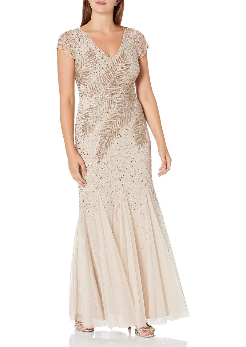 Adrianna Papell Women's Short Sleeve Long Feather Beaded V-Neck Dress