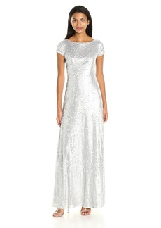 Adrianna Papell Women's Short Sleeve Matte Sequin Long Dress