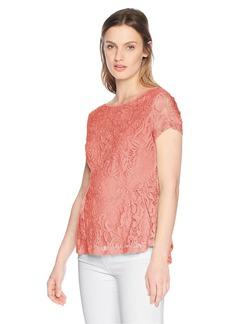 Adrianna Papell Women's Short Sleeve Peplum Lace Blouse  XLarge