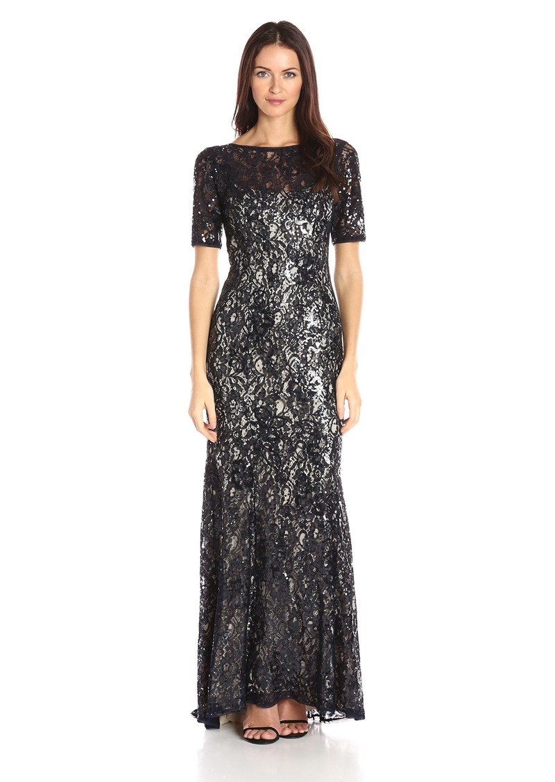 Adrianna Papell Women's Short Sleeve Sequin Lace Mermaid Gown