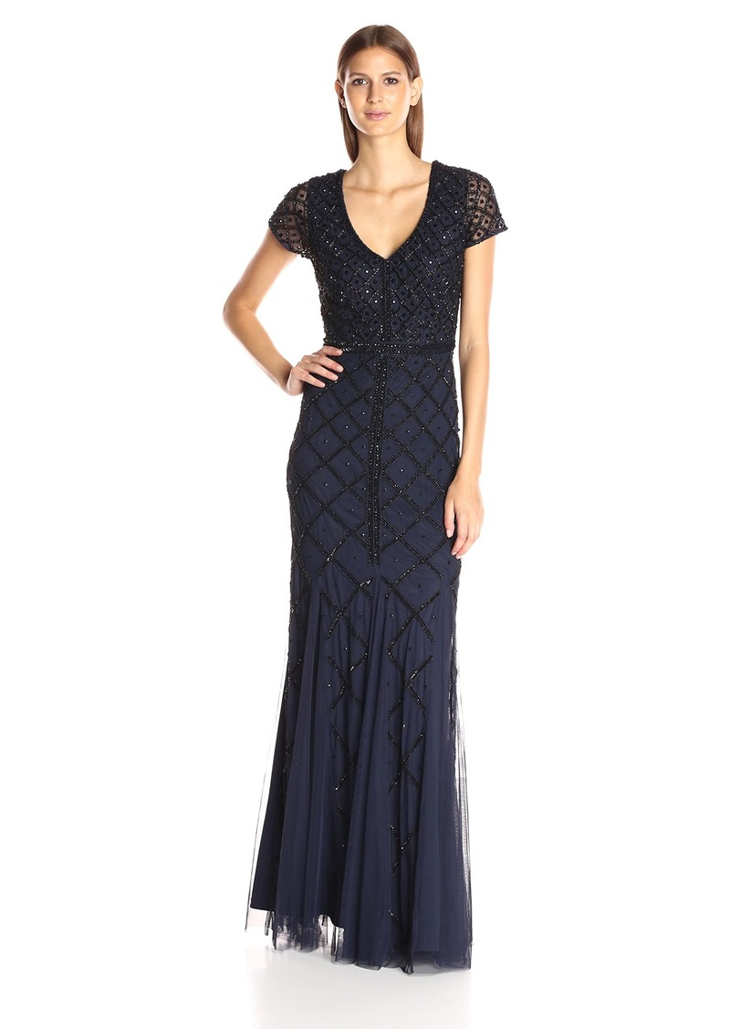 Adrianna Papell Women's Short Sleeve V-Neck Beaded Gown with Godets