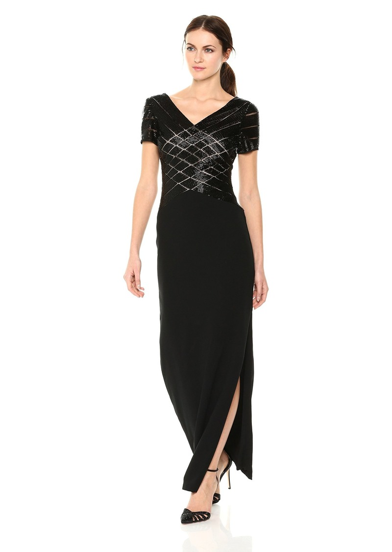 Adrianna Papell Women's Short Sleeve V Neck Beaded Long Gown