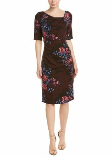 Adrianna Papell Women's Short Sleeve Wildflower Bouquet Print Modern Sheath Dress