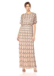 Adrianna Papell Women's Short Sleeve Zig Zag Beaded Long Blousson Gown