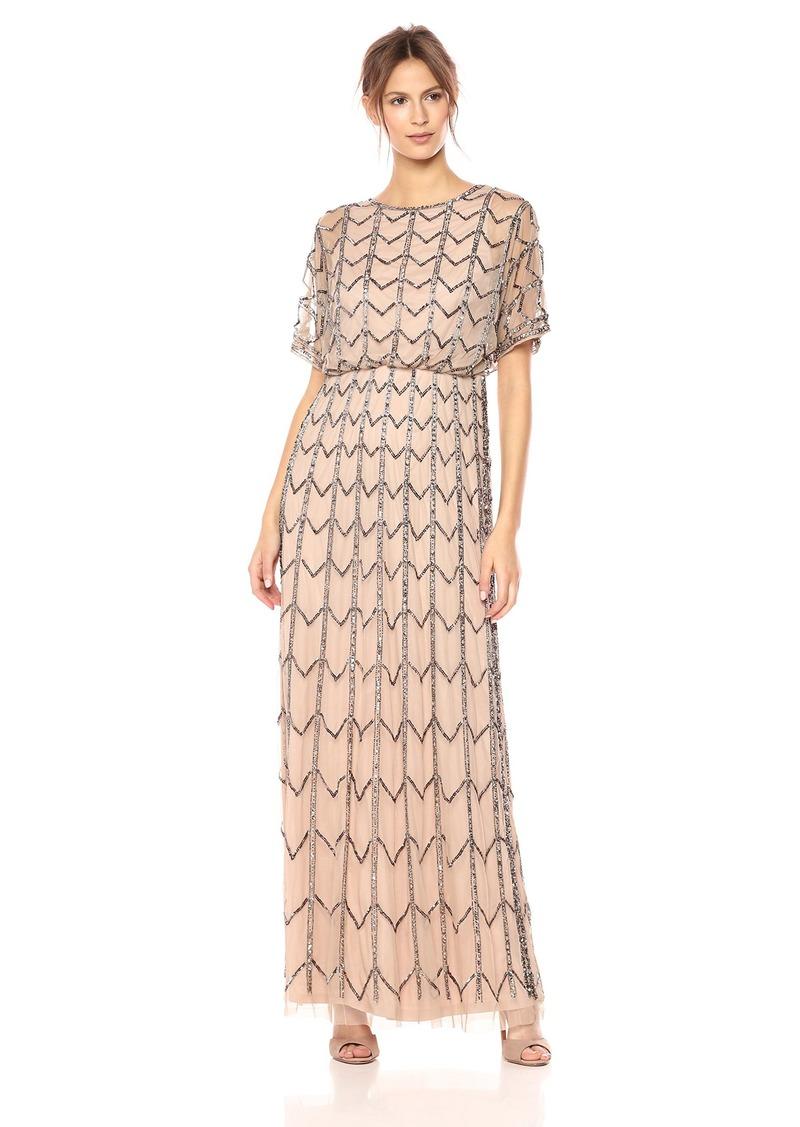 Adrianna Papell Women's Short Sleeve Zig Zag Beaded Long Blousson Gown