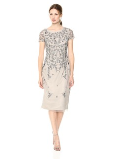 Adrianna Papell Women's Short Sleeved Beaded Cocktail Dress