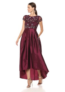 Adrianna Papell Women's Short Sleeved Beaded Long Dress with Taffeta HIGH Low Skirt