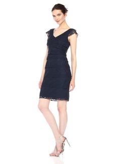 Adrianna Papell Women's Shutter Tuck Lace Sheath Dress