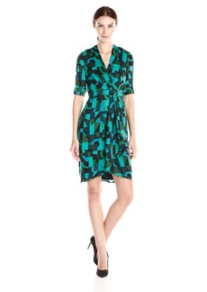 Adrianna Papell Women's Side Wrapped Printed Dress