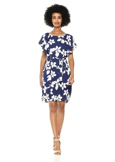 Adrianna Papell Women's Simple Delight Ruffled Sleeve Dress