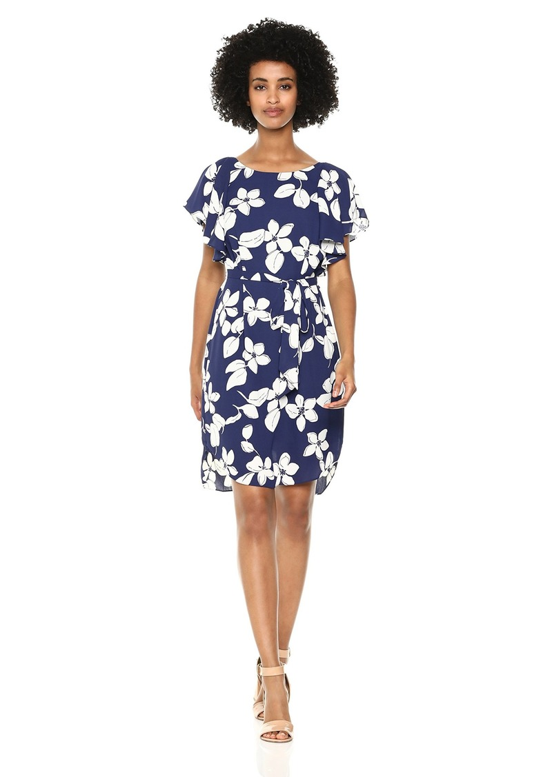 Adrianna Papell Women's Simple Delight Ruffled Sleeve Dress
