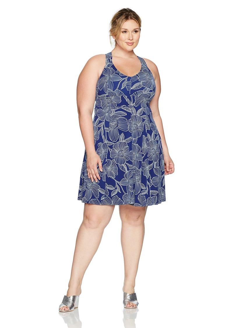 Adrianna Papell Women's Size Cross Back F&f Dress Plus Light Blue 2X