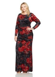Adrianna Papell Women's Size L/s Velevt Burnout Floral Gown Plus