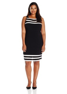 Adrianna Papell Women's Size Matte Jersey Colorblocked Sheath Dress Plus