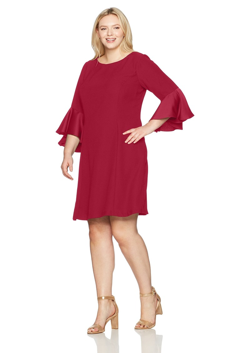 Adrianna Papell Women's Size Plus Crepe-Back Satin with Ruffle Sleeve Dress Matador RED