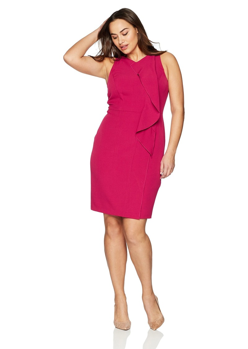 Adrianna Papell Women's Size Plus Stretch Crepe v-Neck Sheath Dress
