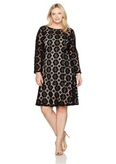 Adrianna Papell Women's Size Plus Textured Florl Lace Flounce Dress BlackPale Pink