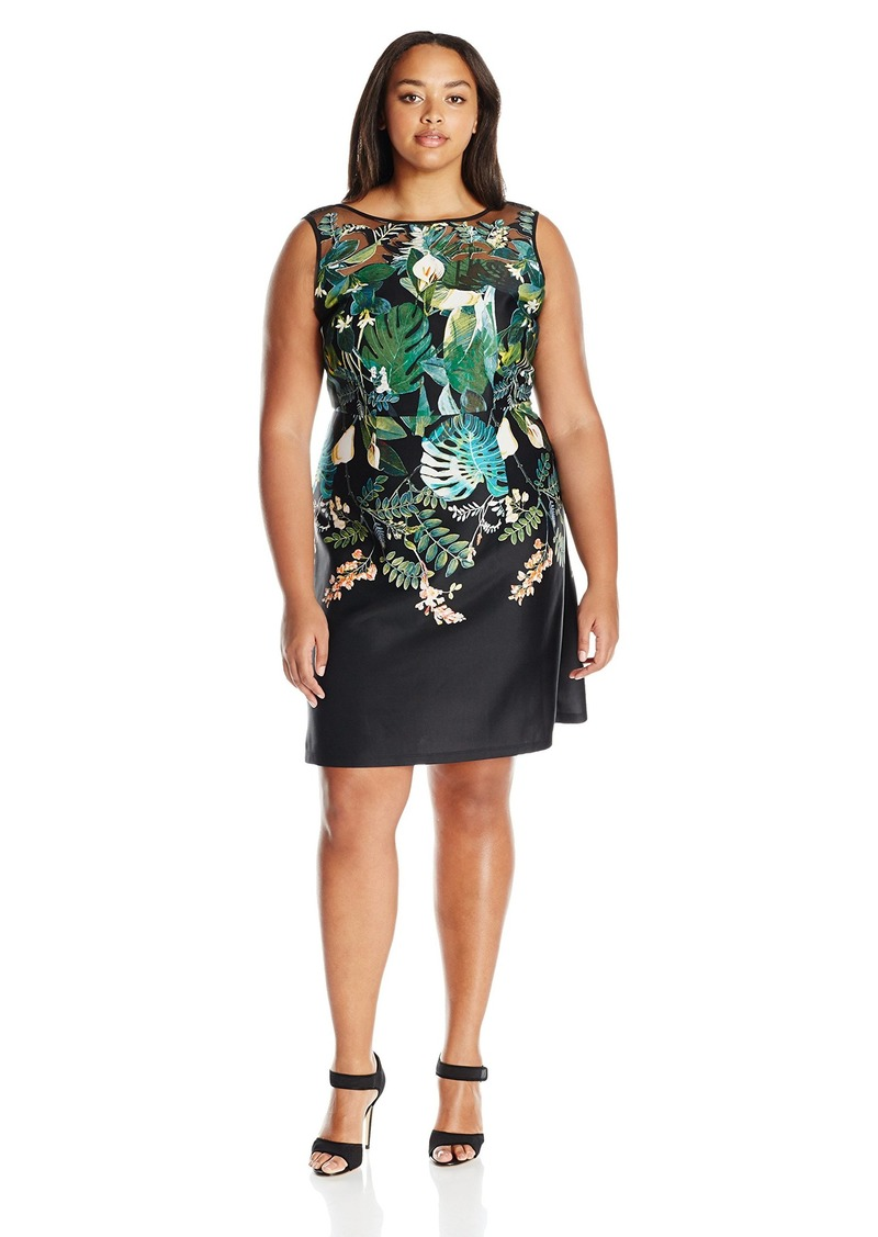 Adrianna Papell Women's Size Scuba Laser Cut A-line Dress Plus