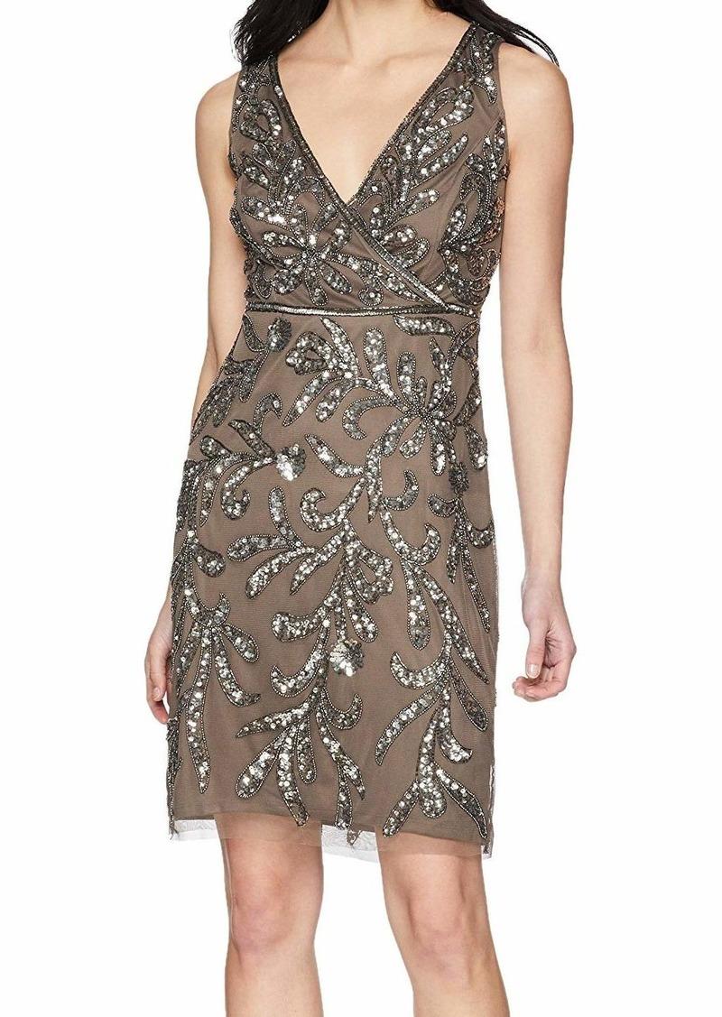 Adrianna Papell Women's Petite Short Beaded Dress  10P