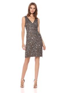 Adrianna Papell Women's Sleeve Allover Beaded Short Dress