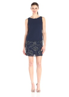 Adrianna Papell Women's Sleeveless Beaded Blouson Cocktail Dress
