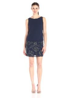Adrianna Papell Women's Sleeveless Beaded Blouson Cocktail Dress