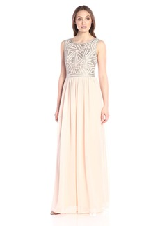 Adrianna Papell Women's Sleeveless Beaded Bodice Gown