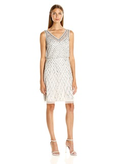 Adrianna Papell Women's Sleeveless Beaded Cocktail Dress