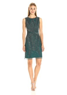 Adrianna Papell Women's Sleeveless Beaded Cocktail Dress with Geometric Beading