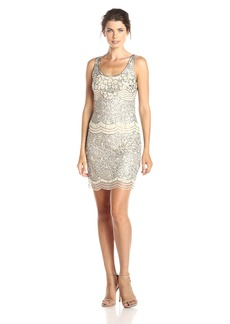 Adrianna Papell Women's Sleeveless Beaded Cocktail Dress with Scoop Neck and Scallop Beading