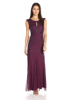 Adrianna Papell Women's Sleeveless Beaded Gown with Godets and Front Cut Out Cassis
